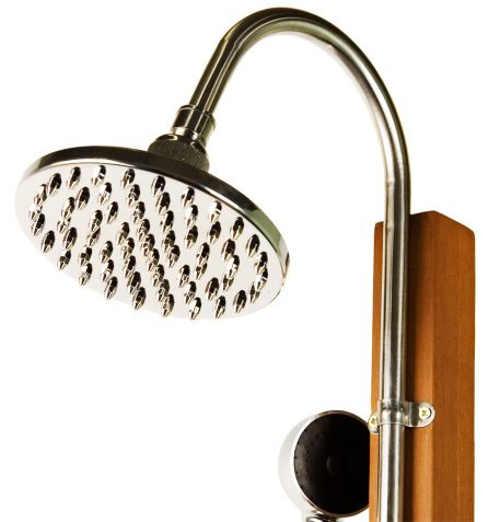 Venkovní sprcha kombinace dřevo a kov
